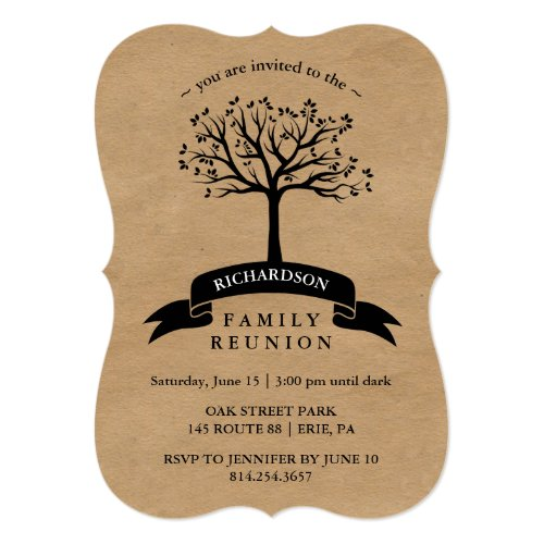 Rustic Kraft Look Family Reunion with Tree Card