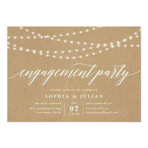 Rustic Kraft String Lights Engagement Party Invitation