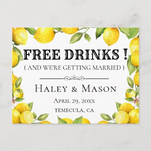 Rustic Lemons FREE DRINKS Save the Date Announcement Postcard