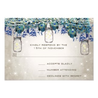 Rustic Luxe Mason Jar Navy Turquoise Peacock Personalized Invites