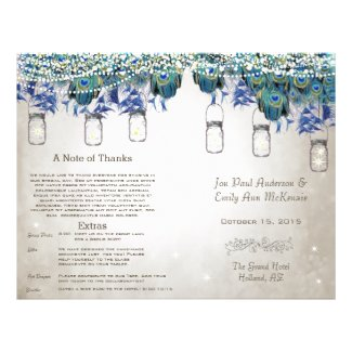 Rustic Luxe Mason Jar Peacock Program Flyers
