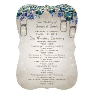 Rustic Luxe Peacock Wedding Program Personalized Invite