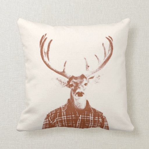 Rustic Man Buck with Antlers in Burnt Orange Throw Pillow