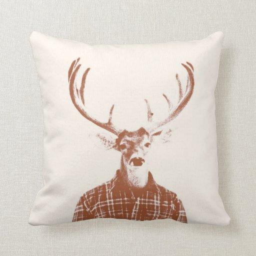 Rustic Man Buck with Antlers in Burnt Orange Throw Pillow