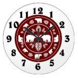 Rustic maroon bear pinecone round clock