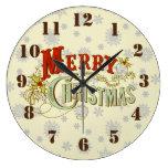 Rustic Merry Christmas on snowflake pattern Wallclock