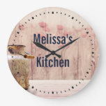 Rustic Milk Can Country Style on Wood Large Clock