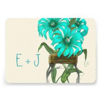 Rustic Mint Mason Jar Wild Flower Wedding Personalized Invitations