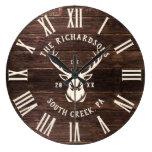 Rustic Modern Custom Family Name Farmhouse Wood Large Clock