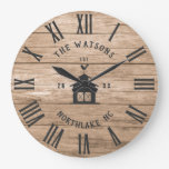 Rustic Modern Farmhouse Custom Family Name Vintage Large Clock