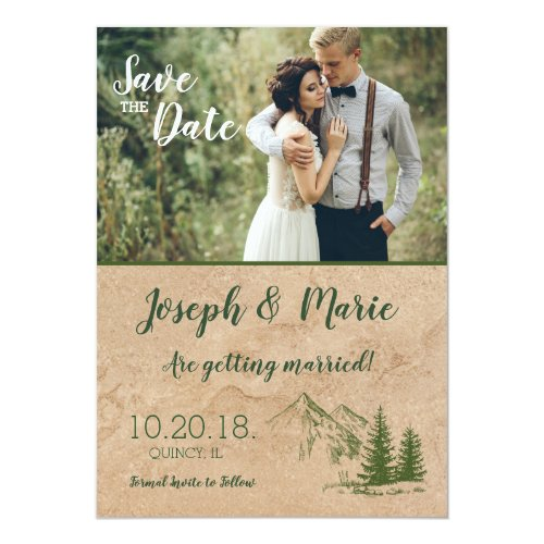 Rustic Mountain wedding Save the Date Invite