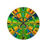 Rustic Multicolored Modern Radiant Stripes Round Clock