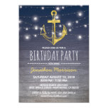 Rustic Nautical Blue Gold Mens Birthday Party Invitation