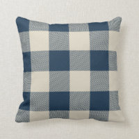 Rustic Navy and Beige Buffalo Check Plaid Throw Pillow