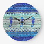 Rustic Navy Blue Coastal Decor Seahorses Large Clock