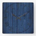 Rustic Navy Blue Wood Texture Square Wallclock