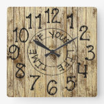 Rustic Personalized Brown Wood Time of Your Life Square Wall Clock