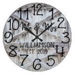 Rustic Personalized Grey Wood Custom Large Clock