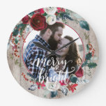 Rustic photo Christmas floral country wood Large Clock