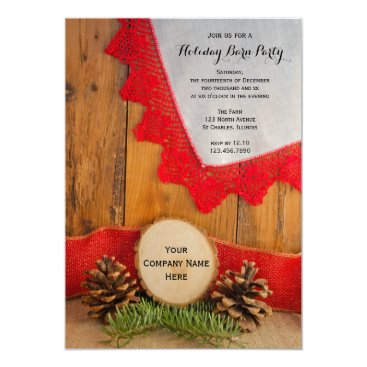 Rustic Pines and Barn Wood Company Christmas Party Invitation