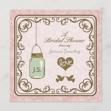 Rustic Pink and Brown Mason Jar Bridal Shower Invitation