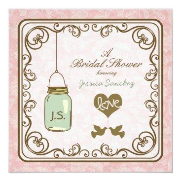 Rustic Pink and Brown Mason Jar Bridal Shower Invitation