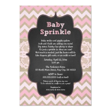 Rustic Pink Baby Sprinkle Invite, girl baby shower Card