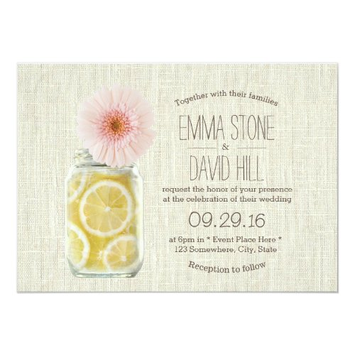 Rustic Pink Daisy & Lemons Jar Wedding Card