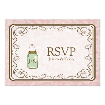 Rustic Pink Damask with Mason Jar RSVP Card