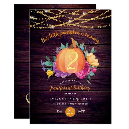 Rustic Pumpkin ANY Birthday Watercolor FALL Modern Invitation