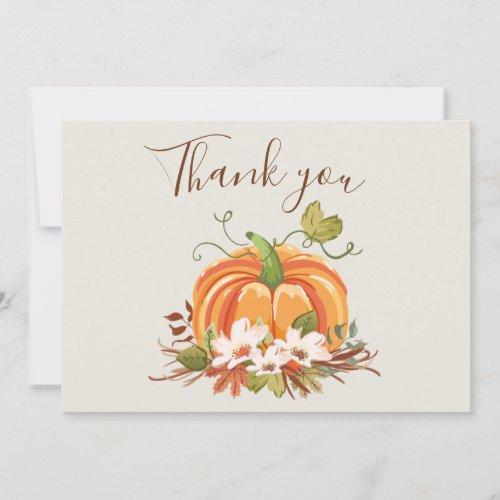Rustic Pumpkin Thank you Card Floral Autumn Brown