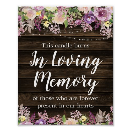 Rustic Purple Floral String Light Wedding Memorial Poster