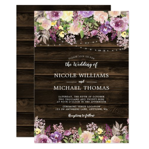 Rustic Purple Floral String Lights Wedding Invitation