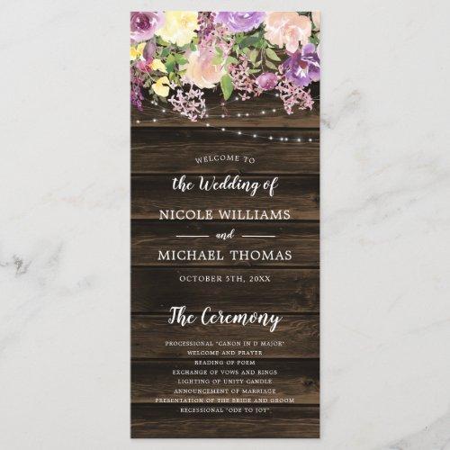 Rustic Purple Floral String Lights Wedding Program