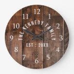 Rustic Reclaimed Wood  Family Name Large Clock