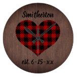 Rustic Red Black Buffalo Plaid Heart Brown Wood Large Clock