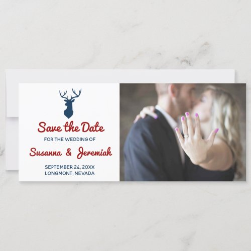 Rustic Red Blue Deer Mountain Save the Date Holiday Card
