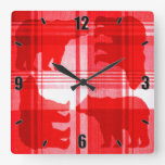 Rustic red plaid bears square wall clock