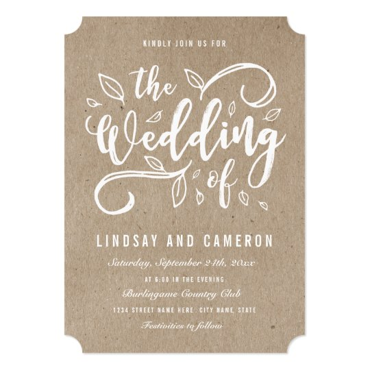 Rustic Romance Faux Kraft Paper Wedding Invite