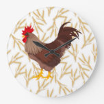 Rustic Rooster | Scattered Wheat Large Clock