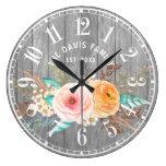 Rustic Shabby Flowers Custom Family Large Clock