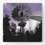 Rustic Sketched Old Windmill Square Wall Clock