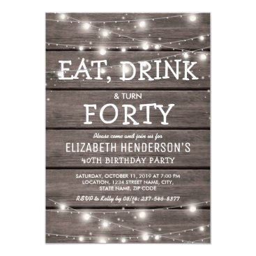 Rustic String Lights Forty Birthday Party | 40th Invitation