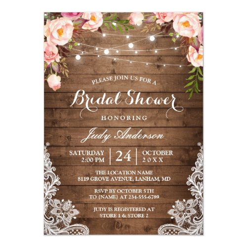 Rustic String Lights Lace Floral Bridal Shower Invitation