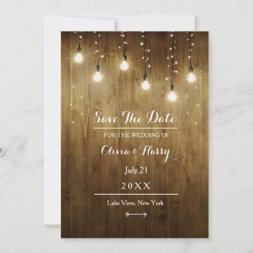 Rustic String Of Lights Country Save The Date Card