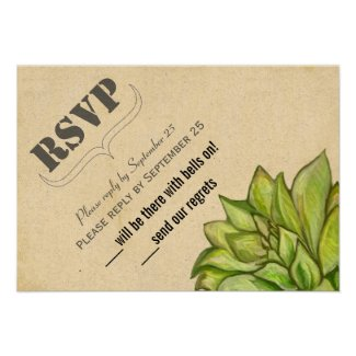 Rustic Succulent Modern Typography Wedding Custom Announcements