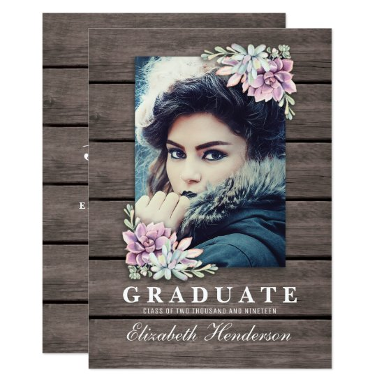 Rustic Succulent Photo 2021 Graduation Party Invitation