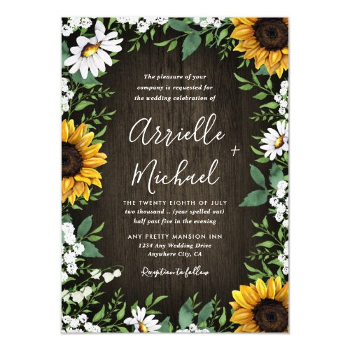 Rustic Sunflower Baby&#39&#x3B;s Breath Wedding Invitations