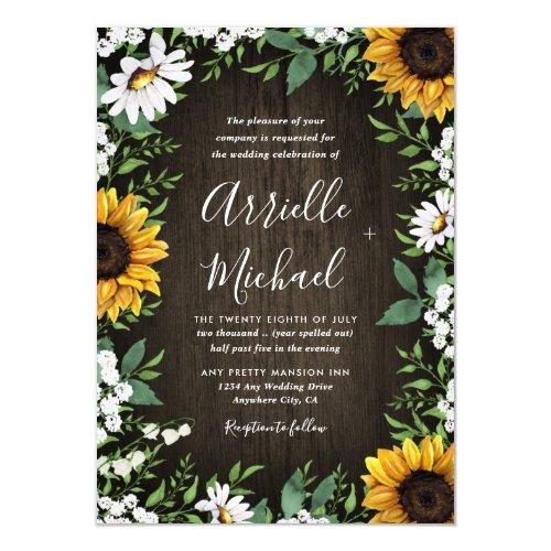 Rustic Sunflower Baby's Breath Wedding Invitations