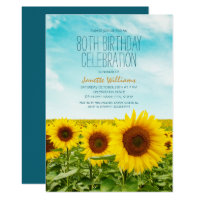 Rustic Sunflower Floral 80th Birthday Party Card